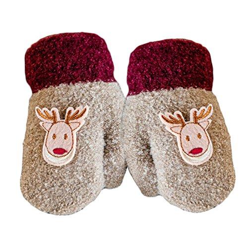 1 paire épais mignon cerfs-communs hiver chaud enfants Gants bébé garçon enfant fille gants avec String kaki