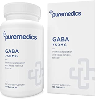 PUREMEDICS GABA 750mg - GABA Supplement to Promote Relaxation and Ease Nervous Tension - Recommended by Doctors - 3rd Part...