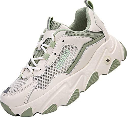 GILKUO Zapatillas Cuña Mujer Deportivas Verano Zapatillas de Deporte Plataforma Sneakers Cuña Interior Talón 7 cm Verde 38