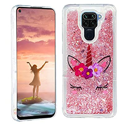 HopMore Glitter Funda para Xiaomi Redmi Note 9 Purpurina Silicona Cover 3D Liquido Brillante Dibujos Transparente Carcasa Redmi Note 9 Resistente Antigolpes Case Protección - Unicornio
