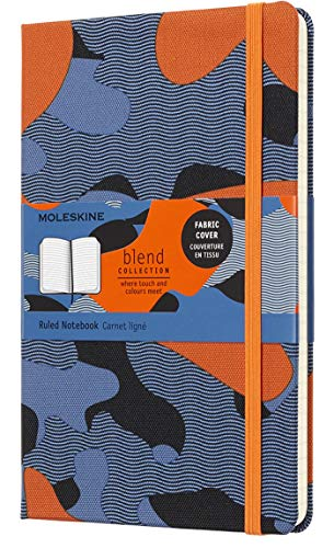 Moleskine Limited Collection Blend Textile Notebook, Hard Cover, Large (5' x 8.25') Ruled/Lined, Camo Orange, 240 Pages