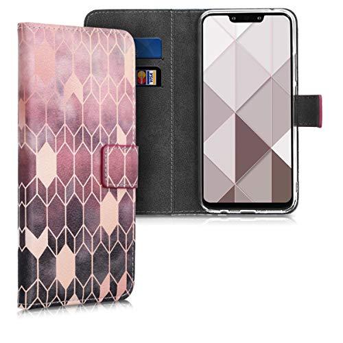 kwmobile Funda Compatible con Huawei Mate 20 Lite - Carcasa de Cuero sintético Rombos - con Tarjetero