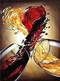 Trama di Vernice FAI da te Decorazione per soggiorno per adulti su Tela Set di pittura Vino Rosso a Forma di Cuore Pittura per adulti per numeri Kit spazzole 40X50 cm Senza Cornice