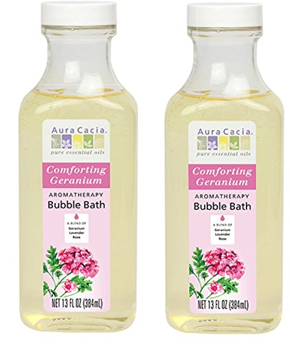 Aura Cacia Aromatherapy Bubble Bath, Geranium, (Pack of 2) With Rosemary Leaf Extract, Ginger Root Extract and Lemon Balm Leaf Extract, 13 fl. oz.