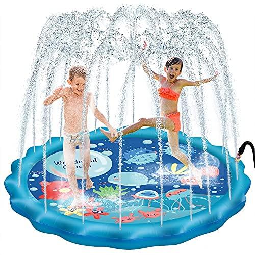 Estera de juego de agua de gran tamaño de 68 pulgadas, espolvorear y salpicar salpicaduras, juguetes de verano para niños y actividades familiares al aire libre
