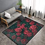 Bouquet en gros plan avec des fleurs et des roses rouges pour le salon, très doux pour chambre à coucher, décoration intérieure et chambre d'enfant 120 x 182 cm, bleu, 60x91cm(36'x24')