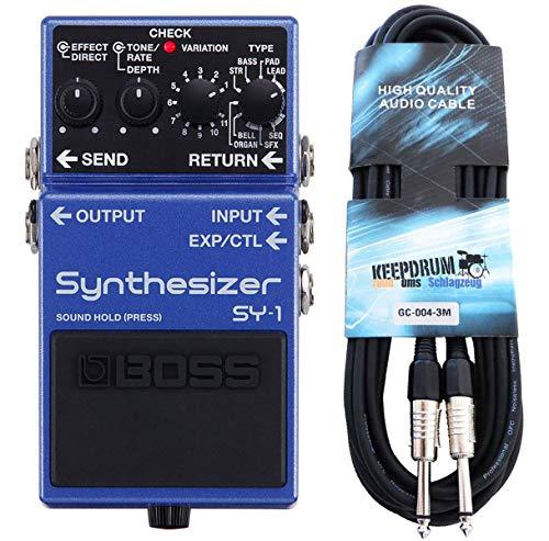 Boss SY-1 - Sintetizador de efectos para guitarra y bajo (incluye cable jack keepdrum de 3 m)