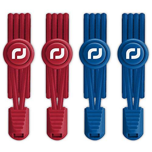 RJ-Sport Elastische Schnürsenkel mit Schnellverschluss - Schnellschnürsystem für Einzigartigen Komfort und Starken Halt (Rot + Blau)