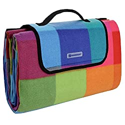 Songmics bunte Karomuster Fleece wasserdichte Picknickdecke 195 x 150 cm