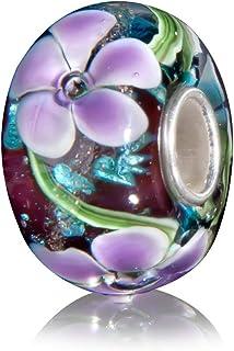 Andante-Stones Argento massiccio Sterling 925 originale Vetro Perlina Bead VITA MARINA mora con fiori viola Ciondolo da do...