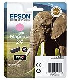 Epson 24 Light Magenta Elephant Genuine, Claria Photo HD Ink Cartridge, Amazon Dash Replenishment Ready