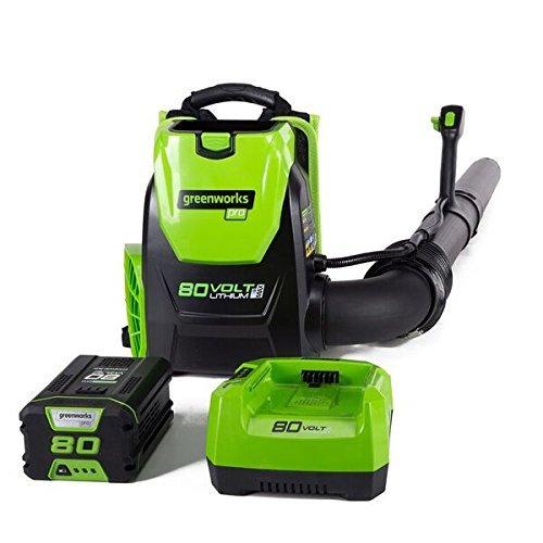 Greenworks BPB80L2510 80V 145MPH - 580CFM Cordless Backpack Blower, 2.5Ah Battery and Charger Included (Renewed)
