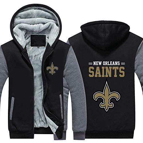 N/G Herren Rugby Hoodie-New Orleans Saints Reißverschlussjacke, weiche und hautfreundliche Langarmjacke (Größe: M-6XL)