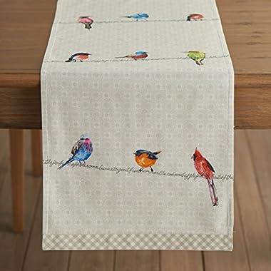 Maison d' Hermine Birdies On Wire 100% Cotton Table Runner 14.5 - inch by 72 - inch.