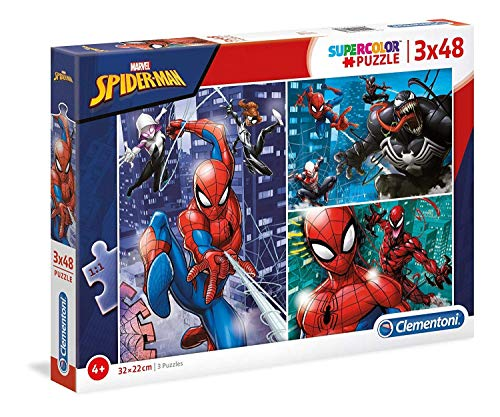Clementoni- Supercolor Puzzle-Spider Man-3 x 48 Pezzi, Multicolore, 25238