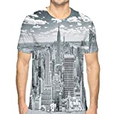 3D Printed T Shirts,NYC Over Manhattan from Top of Skyscrapers Urban Global Culture Artful City Panorama XXL