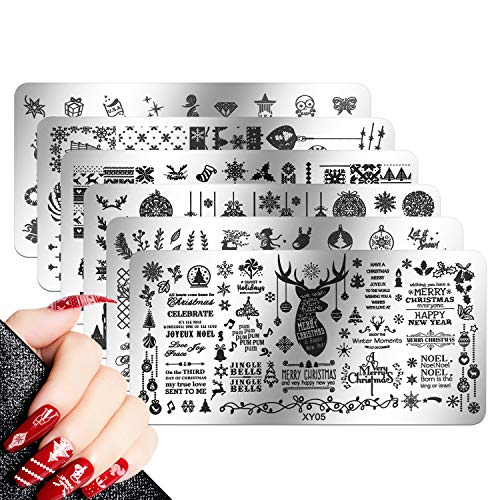 Mwoot 6 pcs Weihnachten maniküre Stempel schablonen, Christmas Nail Art Plates Stamping Nagel Bildstempel Schablone Metallplatten Nagel Tattoo