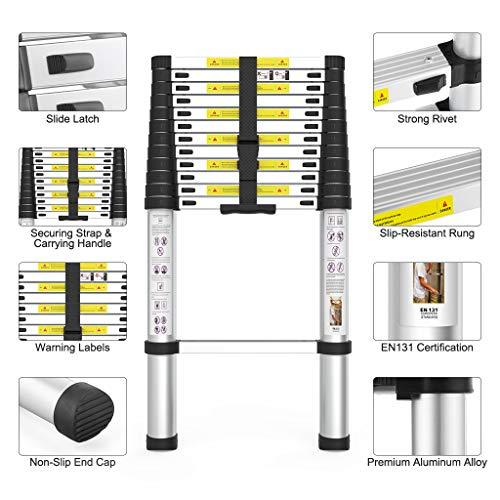 Finether 3.8m Échelle Télescopique Échelle Escamotable Multifonction Aluminium, Housse de Transport / Gant, 13 Echelons, Norme EN131, 150Kg
