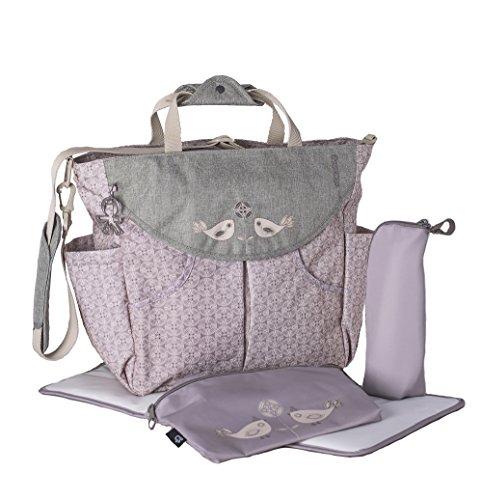 okiedog SUMO 38011 flexible Wickeltasche mit Henkel, Schultergurt, Rucksack, Kinderwagenhaken, Wickelunterlage, isol. Flaschenhalter und Zubehörbeutel, TweetTweet beige, ca. 47 x 40 x 14 cm