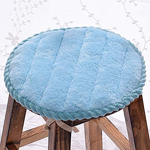 QYDF Chair cushion round and round Monochrome cushions, plush pillows Breathable Home Office Student stool dining chair seat cushion 2PCS,blue,(diameter) 35cm