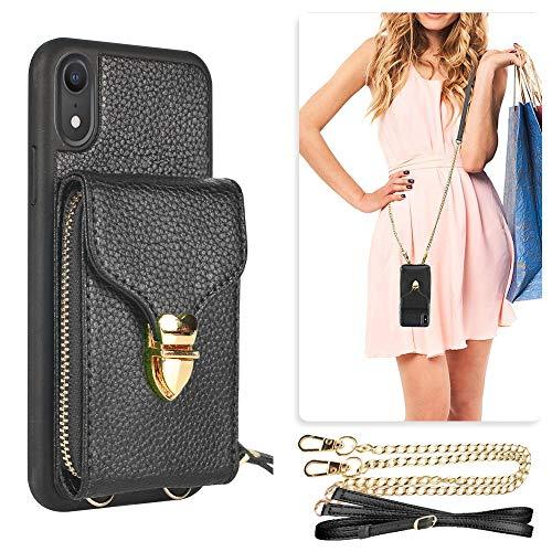 iPhone XR Wallet Case, JLFCH iPhone XR Zipper Wallet Leather Case with Card Slot Holder Zipper Closure Buckle Crossbody Purse Handbag Strap for Apple iPhone XR 6.1 inch - Black