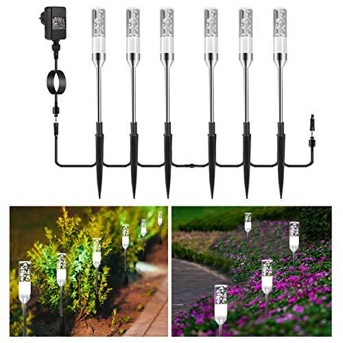Gartenbeleuchtung B-right 6er Set Gartenleuchte mit Erdspieß, Außenleuchte mit Stecker, Wegleuchte Gartenlampe mit Kabel, kaltweiß, 360lm, 6000K, IP65 Wasserdicht Außenbeleuchtung für Outdoor