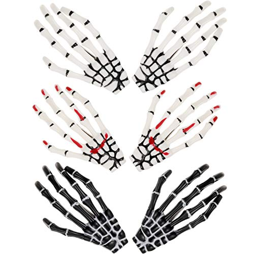 6 Piezas Clips de Pelo de Esqueleto Manos Hueso Hebilla de Pelo de Horror Rock Punk de Zombi para Mujeres Chicas Accesorios de Cabello