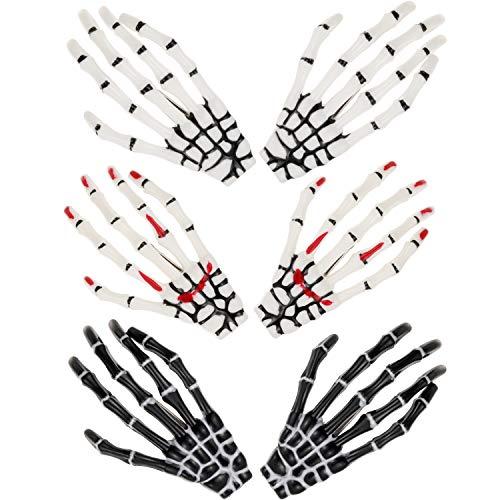 6 Pieces Skeleton Hands Bone Hair Clips Claws Skull Hand Hair Clip Hairpin Zombie Punk Rock Horror Hair Clip for Women Girls Hair Accessories