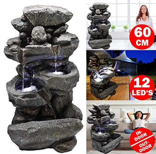 Möbelbörse LED Gartenbrunnen Wasserfall 60cm Kaskadenbrunnen Zierbrunnen Zimmerbrunnen Brunnen Wasserspiel XL Steinoptik - mit 12 LED's