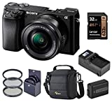 Sony Alpha A6100 Mirrorless Digital Camera, with 16-50mm Lens (Black) Basic Bundle with Filter Kit, Battery, Charger, Bag, 32GB SD Card