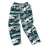Zubaz NFL Philadelphia Eagles Men's Camo Print Team Logo Casual Active Pants, Medium, Midnight Green/Gray/Black