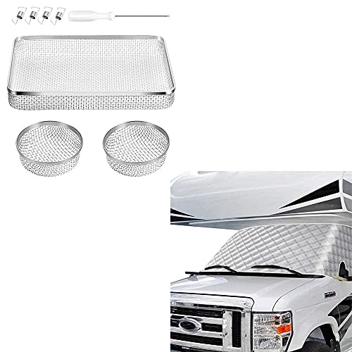 rv window covers BougeRV RV Windshield Window Cover for Class C Ford 1997-2022 Motorhome for RV RV Flying Insect Screen RV Furnace Vent Cover RV Bug Screen Covers for RVs/Campers/Trailers (3Pack)