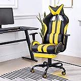 Soontrans Gaming Stuhl Ergonomisch Bürostuhl mit Fußstütze Drehbar Chefsessel, Höhenverstellbar, Gepolster, mit Kopf-Lendenstütze (Gelb)