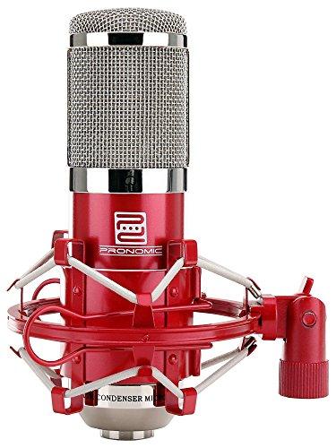 Pronomic CM-100R microfono de membrana grande de estudio incl. suspensión & protector viento, rojo