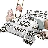 Juego de edredón para niños con diseño de rey, cubierta de cama, símbolo de la realeza, coronas, tiaras para el reinado, noble, reina, príncipe, princesa, diseño de dibujos animados, tamaño de la rein