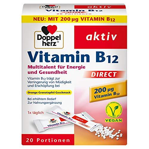 Doppelherz Vitamin B12 DIRECT – Energie und Leistungsfähigkeit für Körper und Geist – Vitamin B12 zur Verringerung von Müdigkeit und Erschöpfung – 1 x 20 Sachets