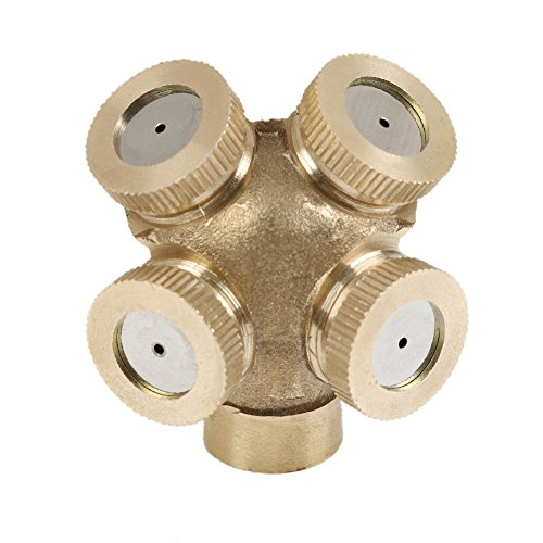 4 fori in ottone ugello di spruzzo, Giardino Misting sprinkler raccordo del tubo connettore Acqua