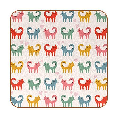 Posavasos de piel sintética con diseño de gatos y gatitos para bebidas, paquete de 6 posavasos cuadrados para bebidas para uso en casa o bar, regalo de inauguración de la casa