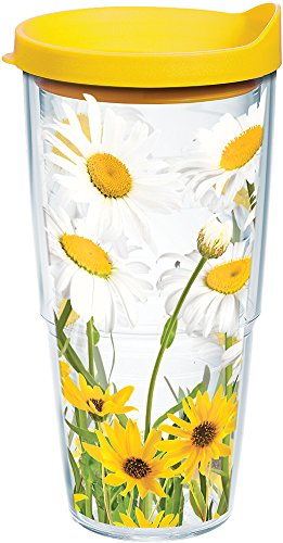 Tervis White Daisies Tumbler with Wrap and Yellow Lid 24oz, Clear