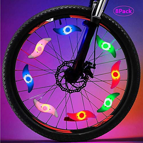 Bike Spoke Lights 8 Pack LED Bike Wheel Lights with 3 Flash Modes Cycling Neon Lamps Used for Bicycle Spoke Decoration Safety and Warning at Night -Very Bright-Waterproof