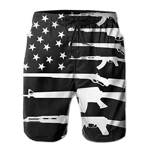 Hunter Qiang - Pantalones cortos de natación para hombre, diseño de bandera de Estados Unidos, color blanco Multicolor multicolor XL