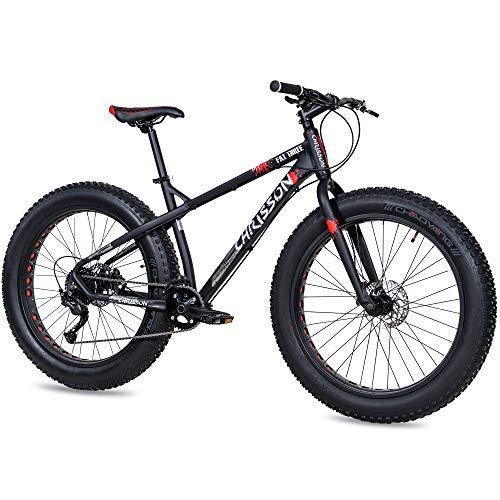 CHRISSON 26 Zoll Fatbike Mountainbike - Fat Three schwarz-rot - Hardtail Fat Tyre Mountain Bike, Fahrrad mit 4.0 fette Reifen und 9 Gang Shimano Alivio Schaltung