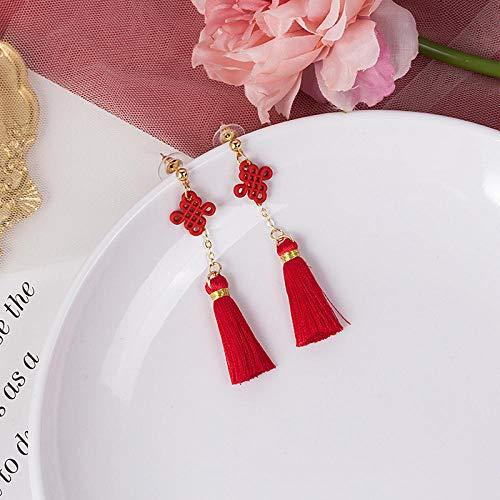XCWXM Hola Miss Festiva Rojo Novia Pendientes asimétrico Chino Nudo Linterna Borla año Nuevo Pendiente Moda Mujeres Pendientes joyería-1