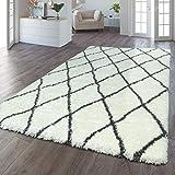 TT Home - Tappeto a pelo lungo Flokati, effetto soffice, a rombi, colore: crema, antracite, dimensioni: 160 x 230 cm