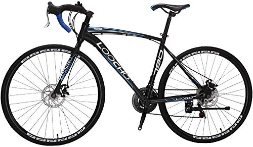 LOOCHO Road Bike 21 Speed Dual Disk Brake 703C Wheels Fitness Bicycle Urban City Commuter Bike