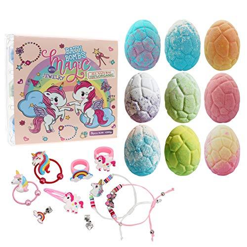 Unicorn Bath Bomb Gift Set with Jewelry Inside, 9 Pack Organic Bath Bomb Gift Set for Kids, Magic Unicorn Bath Bomb with Jewelry for Girls