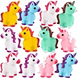 Bedwina Mini Unicorn Toy Figures - (Pack of 12) Squirt Bath Tub Toy for Kids, Squeezable and Squirtable Figurine Party Favor Supplies, Goodie Bag Fillers and Stocking Stuffers