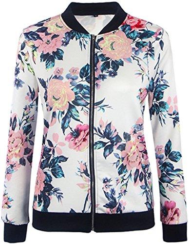 EUDOLAH Damen Blazer Strickjacke Sweatshirt mit Reissverschluss Streetwear Frühling Herbst Weiß-Rot XL