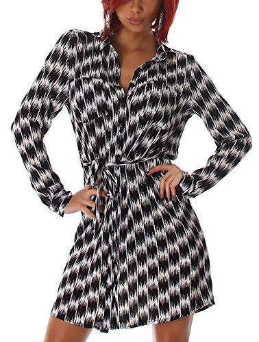 Voyelles Damen Bluse sehr lang extra Muster Hahnentritt geometrisch Taillenband bindbar Brusttasche Kragen Knöpfe, Schwarz 36