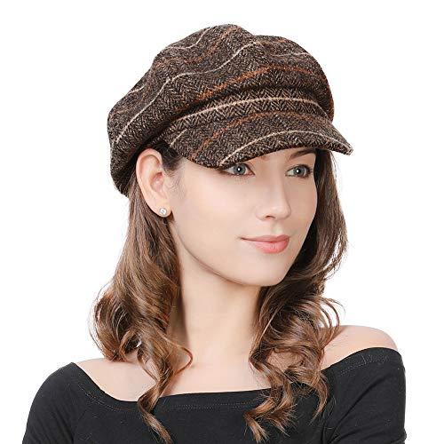 Comhats Damen Wollmischung Ballonmütze Wintermütze Kappe 55-58cm Kaffeebraun